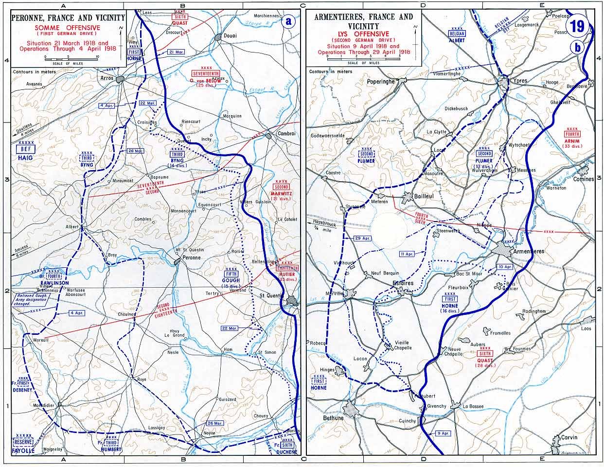 Maps Of The Great War - 1917 1918 us in europe battles map