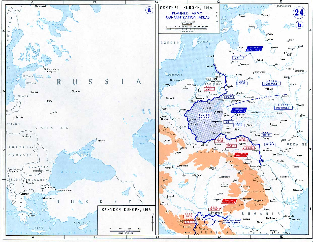 24 eastern europe 1914 and planned army concentration areas in central europe 1914