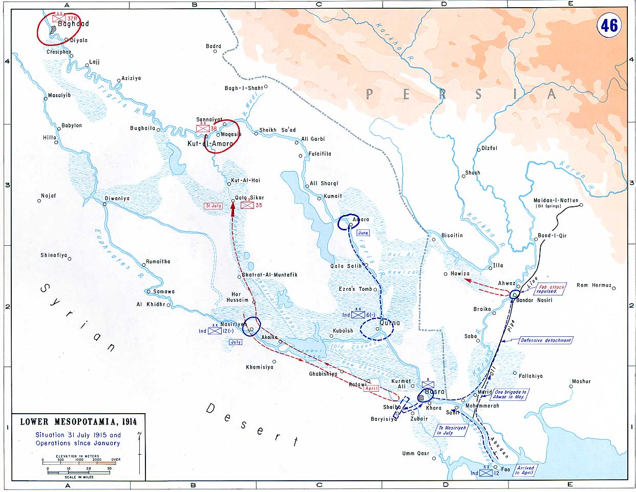 Maps of the great war 46 lower mesopotamia situation 31 july 1915 gumiabroncs Gallery