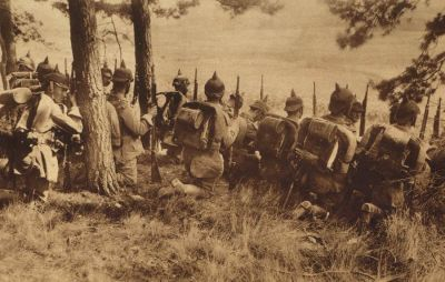 German soldiers on edge of forest